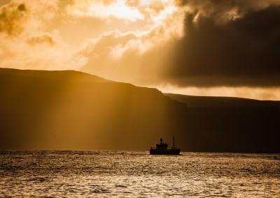 barca tramonto, fiordi, Islanda